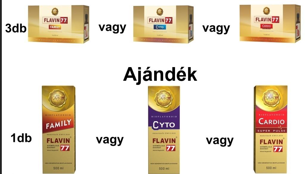 Flavin77 Cyto vagy Cardio vagy Family 3x7x100ml + Ajándék 1 doboz Flavin77 500ml