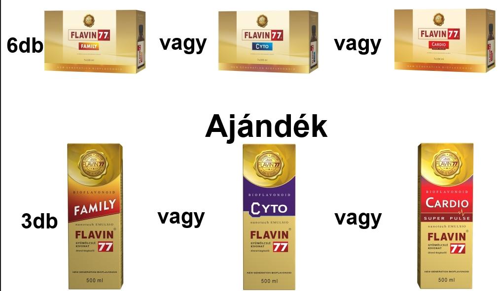 Flavin77 Cyto vagy Cardio vagy Family 6x7x100ml + Ajándék 3 doboz Flavin77 500ml